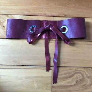 MM6 Maison Martin Margiela red tie up waist belt